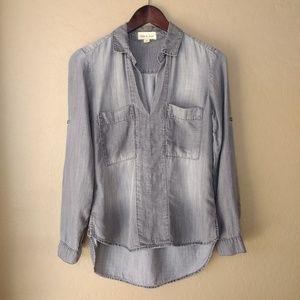 Anthropologie Cloth & Stone Gray Denim Top